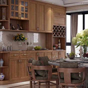 至愛智家 客餐廳酒柜 多層實木全屋定制