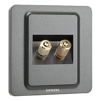 西门子映彩系列双接线柱音响插座5UH82813NC08灯墨黑