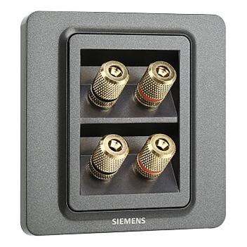 西门子映彩系列四接线柱音响插座5UH82823NC08灯墨黑