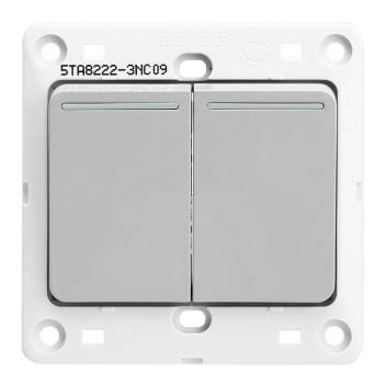 西门子映彩系列二位单控大跷板开关(带荧光指示)5TA82223NC09月石灰