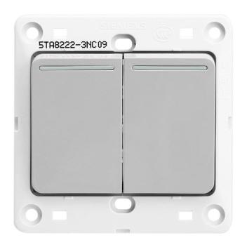 西门子映彩系列二位双控大跷板开关(带荧光指示)5TA82243NC09月石灰