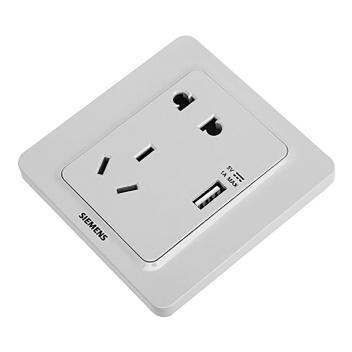 西门子映彩系列USB+10A联体二三极插座5UB82163NC09月石灰